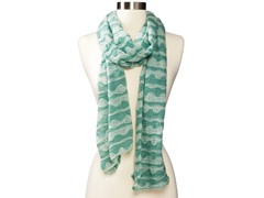 Anne Klein Scallop Stripe Neckwrap, Green
