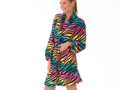Multi Color Fluffy Lounge Robe,Mult