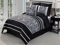 Laken Zebra 8pc Set-Black-2 Sizes