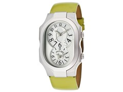 Women's Dual Time Light Green Leather Watch
