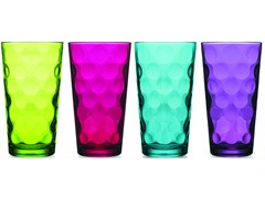 Eclipse Assorted Color 17oz Highball Glasses-S/4