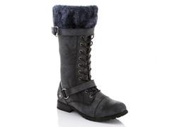 Rasolli Fur Cuff Boots, Black