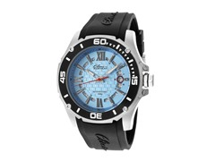 Elini Barokas Black Silicone Blue Dial Watch