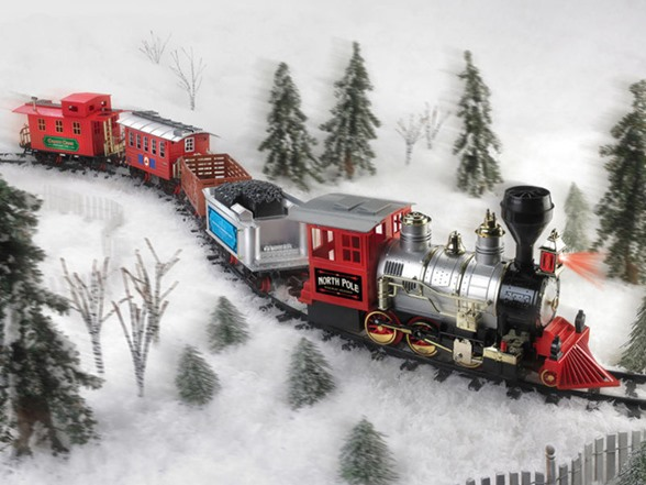 Toy Trains And Christmas : Blue hat north pole junction christmas train set