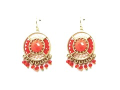 Gold-Plated & Glass Bead Dangling Earrings - Coral