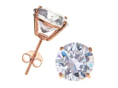 18k Rose Gold Plated 8mm Round CZ Studs