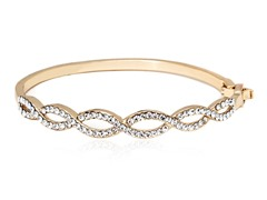 Gold/Clear Swarovski Elements Laced Bangle Bracelet