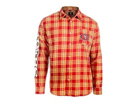 NFL San Francisco 49Ers Wordmark Basic Flannel Shirt, XXL