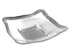 """Square Bowl 14"""" Silver Rim"""