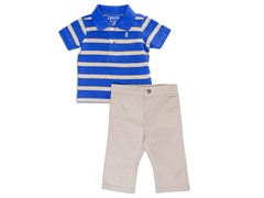 Blue Twill 2-Pc Polo Sets (3-24M)
