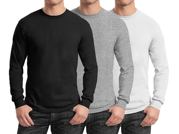 3-Pack Harvic Men's Long Sleeve Crew Tees