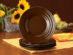 Brown Salad Plates Set of (4) 8""