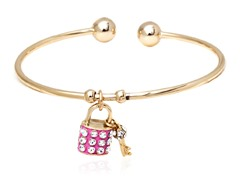 Pink/White Swarovski Elements Key and Lock Charm Bangle