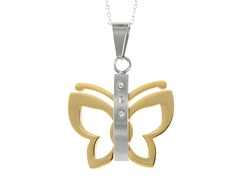 Two-Tone Butterfly Pendant w/ Cable Link