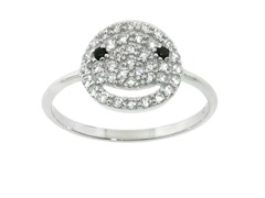 Sterling Silver Pave Smile Ring