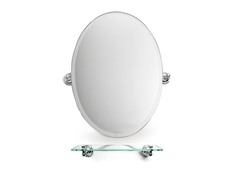 "22.5"" Oval Bathroom Mirror w/Glass Shelf"