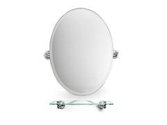 """22.5"""" Oval Bathroom Mirror w/Glass Shelf"""