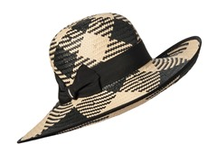 Orchid Straw Sun Hat, Black/Natural