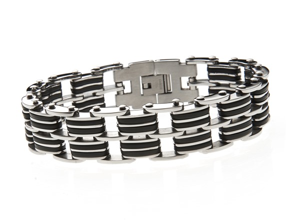 blackjack jewelry black rubber s steel link bracelet fashion