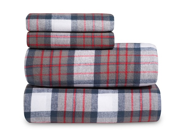 Grey Plaid Flannel Sheet Set 3 Sizes