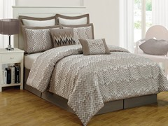 Veyra Chevron 8Pc Comforter Set-Linen-2 Sizes