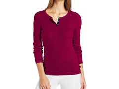 Nautica Sleepwear Women's Pointelle Henley, Berry