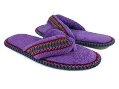 Muk Luks Darlene Micro Chenille Thong Slippers, Purple