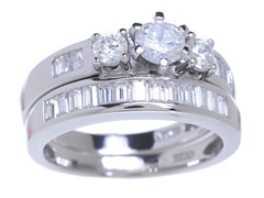 18kt WG Plated SS Tri Stone Sim Diamond Ring Set