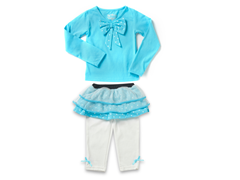 Turquoise Skirt Legging Set