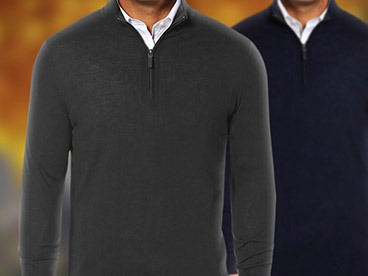 Men's Quarter-Zip Cotton Sweaters