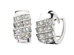 Sterling Silver Simulated Diamond Stripe Huggie