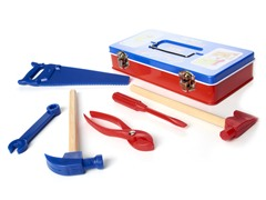 Tin Tool Box with Tools