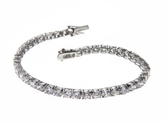 White Gold Plated SS Round Cut Sim Diamond Tennis Bracelet