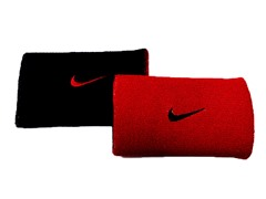 Swoosh Doublewide Wristbands - Red/Black