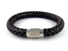 Thick Brown Braided Genuine Leather SS Magnetic Clasp Bracelet