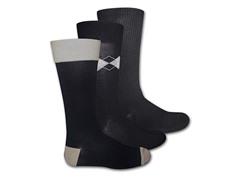 Muk Luks Men's 3 Pair Pack Crew Socks, Black