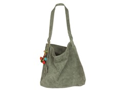 Karma Suede Shoulder Tote, Grey