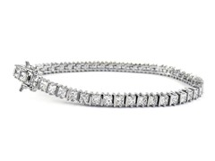 Fancy White Gold Plated  6.5CTTW Tennis Bracelet
