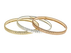 18kt Plated 3-Pack Fancy Bangle Set