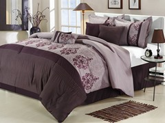Renaissance 8Pc Comforter Set - Plum - 2 Sizes