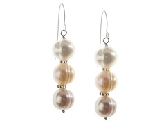 SS & Freshwater Pearl Earrings, Multi