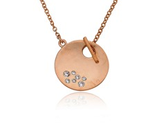 Riccova Retro Rose Gold Satin Finish CZ Studded Circle Toggle Necklace