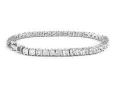 Fancy White Gold Plated 8CTTW Tennis Bracelet