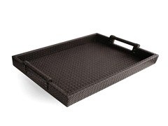 Brown Faux Leather Tray with Handles