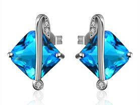 Diamond Shape Sapphire Swarovski Earring