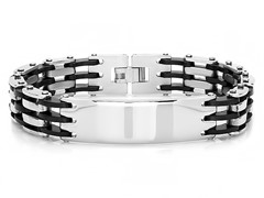 Two-tone Metallic Link Bracelet w/ ID