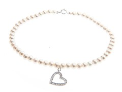 14kt White Gold, Diamond Pearl Bracelet