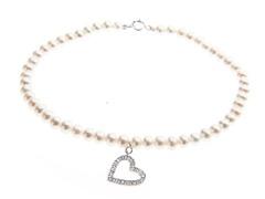 14kt White Gold, Diamond Pearl Bracelet