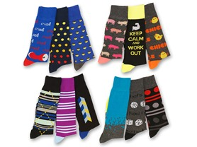 12 Pack: Men's Funky Dress Socks