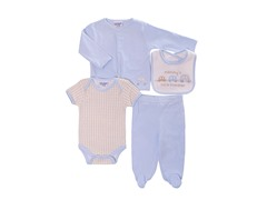 Blue Cars 4-Pc Cardigan Layette (0-9M)